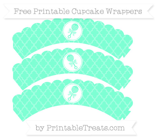 Free Aquamarine Moroccan Tile Baby Rattle Scalloped Cupcake Wrappers