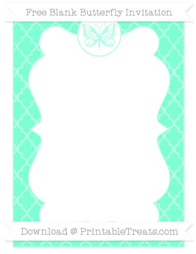 Free Aquamarine Moroccan Tile Blank Butterfly Invitation
