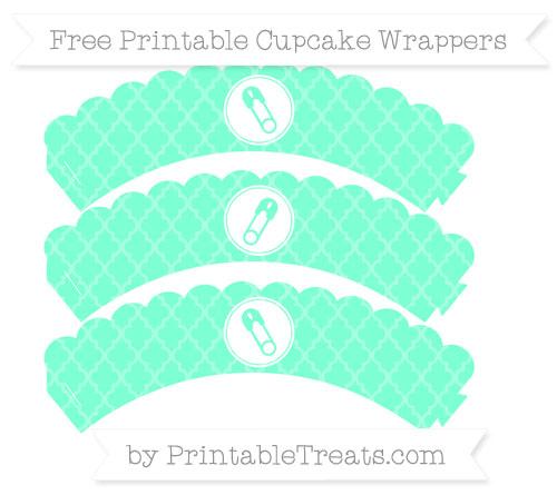 Free Aquamarine Moroccan Tile Diaper Pin Scalloped Cupcake Wrappers