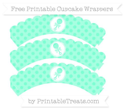 Free Aquamarine Polka Dot Baby Rattle Scalloped Cupcake Wrappers