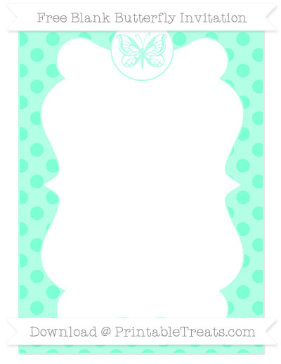 Free Aquamarine Polka Dot Blank Butterfly Invitation