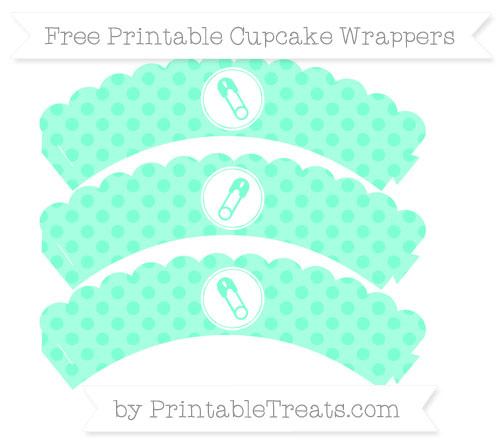 Free Aquamarine Polka Dot Diaper Pin Scalloped Cupcake Wrappers