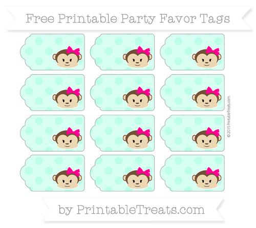 Free Aquamarine Polka Dot Girl Monkey Party Favor Tags