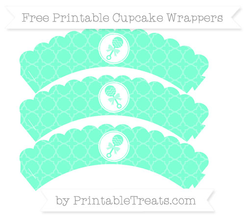 Free Aquamarine Quatrefoil Pattern Baby Rattle Scalloped Cupcake Wrappers
