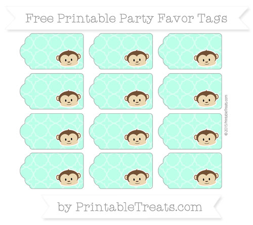 Free Aquamarine Quatrefoil Pattern Boy Monkey Party Favor Tags