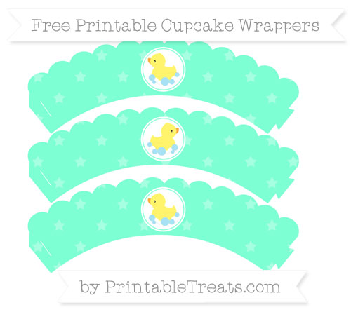 Free Aquamarine Star Pattern Baby Duck Scalloped Cupcake Wrappers