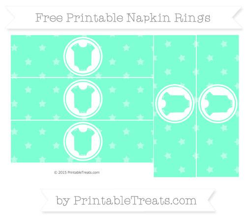 Free Aquamarine Star Pattern Baby Onesie Napkin Rings