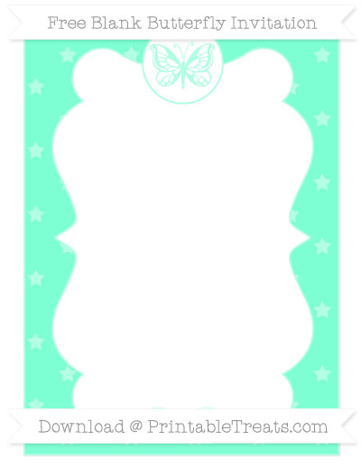 Free Aquamarine Star Pattern Blank Butterfly Invitation