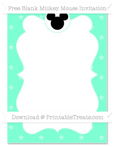 Free Aquamarine Star Pattern Blank Mickey Mouse Invitation