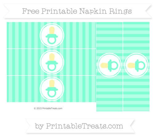 Free Aquamarine Striped Baby Pacifier Napkin Rings