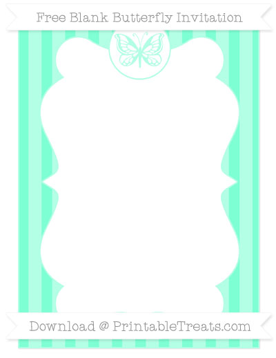 Free Aquamarine Striped Blank Butterfly Invitation