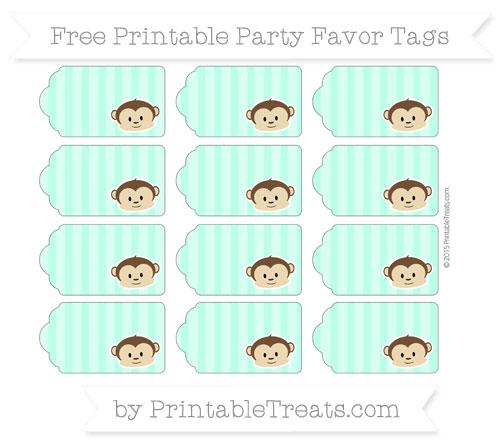 Free Aquamarine Striped Boy Monkey Party Favor Tags