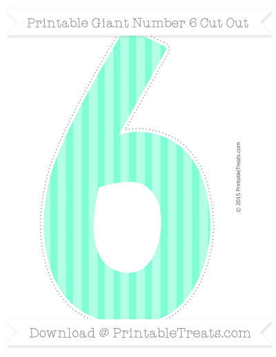 Free Aquamarine Striped Giant Number 6 Cut Out