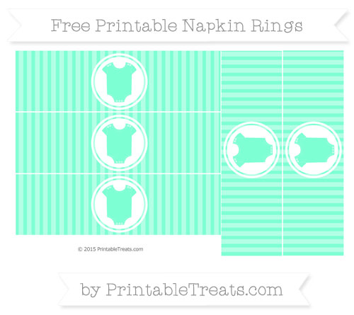 Free Aquamarine Thin Striped Pattern Baby Onesie Napkin Rings