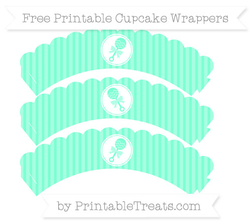 Free Aquamarine Thin Striped Pattern Baby Rattle Scalloped Cupcake Wrappers