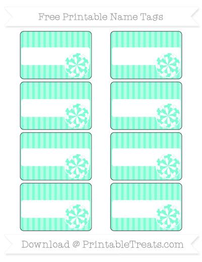 Free Aquamarine Thin Striped Pattern Cheer Pom Pom Tags