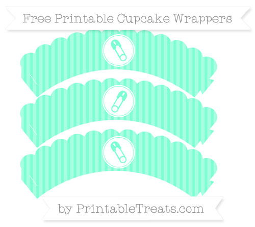 Free Aquamarine Thin Striped Pattern Diaper Pin Scalloped Cupcake Wrappers