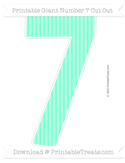 Free Aquamarine Thin Striped Pattern Giant Number 7 Cut Out