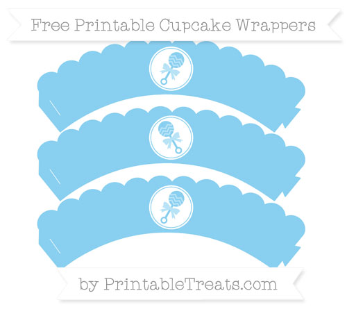 Free Baby Blue Baby Rattle Scalloped Cupcake Wrappers