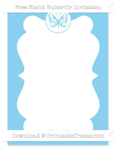 Free Baby Blue Blank Butterfly Invitation