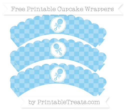 Free Baby Blue Checker Pattern Baby Rattle Scalloped Cupcake Wrappers