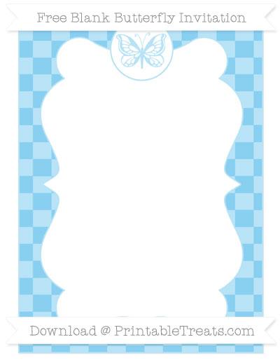 Free Baby Blue Checker Pattern Blank Butterfly Invitation