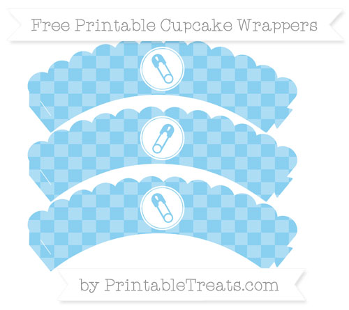 Free Baby Blue Checker Pattern Diaper Pin Scalloped Cupcake Wrappers