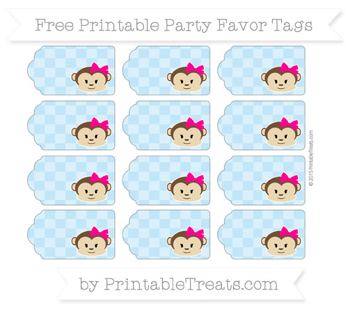 Free Baby Blue Checker Pattern Girl Monkey Party Favor Tags