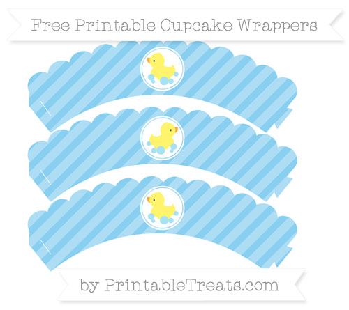 Free Baby Blue Diagonal Striped Baby Duck Scalloped Cupcake Wrappers