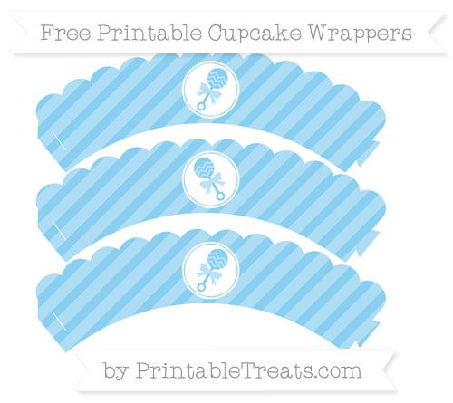 Free Baby Blue Diagonal Striped Baby Rattle Scalloped Cupcake Wrappers
