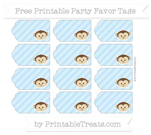 Free Baby Blue Diagonal Striped Boy Monkey Party Favor Tags