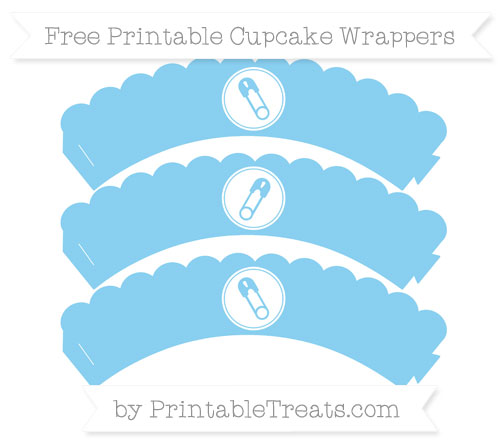 Free Baby Blue Diaper Pin Scalloped Cupcake Wrappers