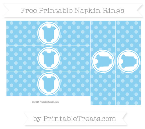 Free Baby Blue Dotted Pattern Baby Onesie Napkin Rings