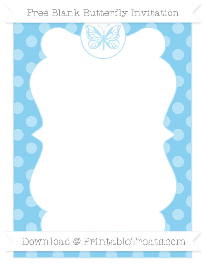Free Baby Blue Dotted Pattern Blank Butterfly Invitation