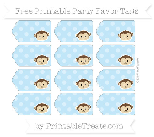 Free Baby Blue Dotted Pattern Boy Monkey Party Favor Tags