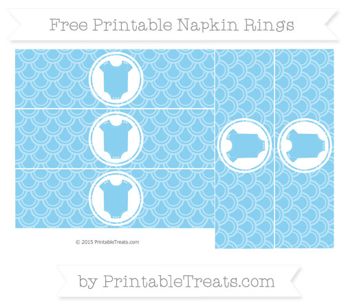 Free Baby Blue Fish Scale Pattern Baby Onesie Napkin Rings