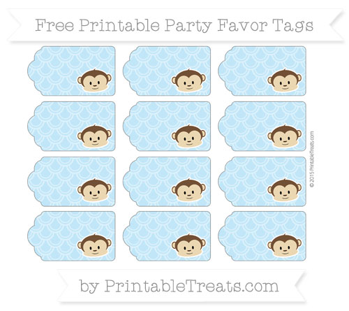 Free Baby Blue Fish Scale Pattern Boy Monkey Party Favor Tags