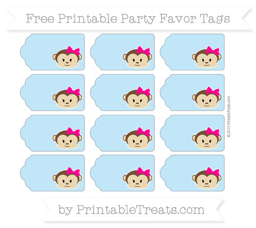 Free Baby Blue Girl Monkey Party Favor Tags