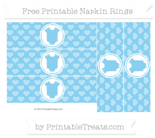 Free Baby Blue Heart Pattern Baby Onesie Napkin Rings