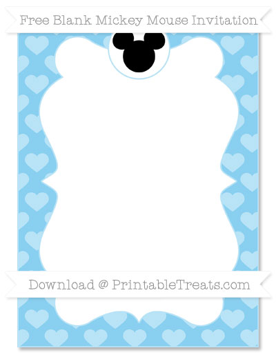 Free Baby Blue Heart Pattern Blank Mickey Mouse Invitation