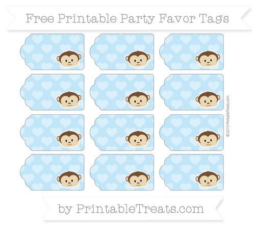 Free Baby Blue Heart Pattern Boy Monkey Party Favor Tags