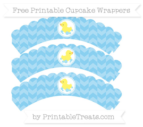 Free Baby Blue Herringbone Pattern Baby Duck Scalloped Cupcake Wrappers