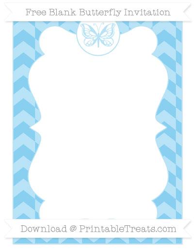 Free Baby Blue Herringbone Pattern Blank Butterfly Invitation