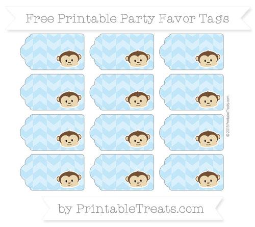 Free Baby Blue Herringbone Pattern Boy Monkey Party Favor Tags