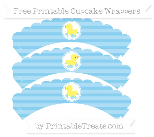 Free Baby Blue Horizontal Striped Baby Duck Scalloped Cupcake Wrappers