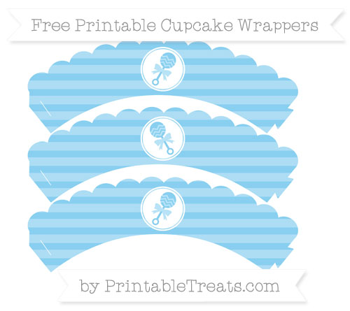 Free Baby Blue Horizontal Striped Baby Rattle Scalloped Cupcake Wrappers