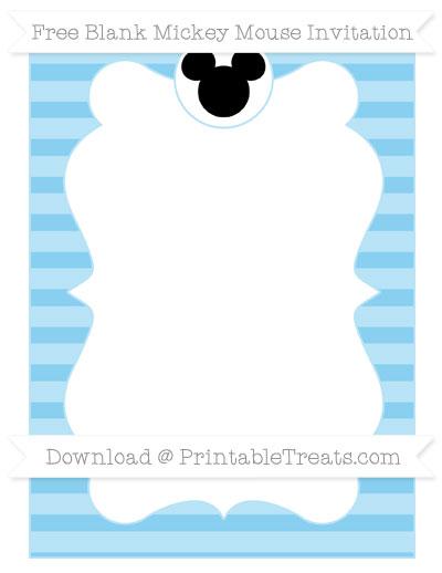 Free Baby Blue Horizontal Striped Blank Mickey Mouse Invitation