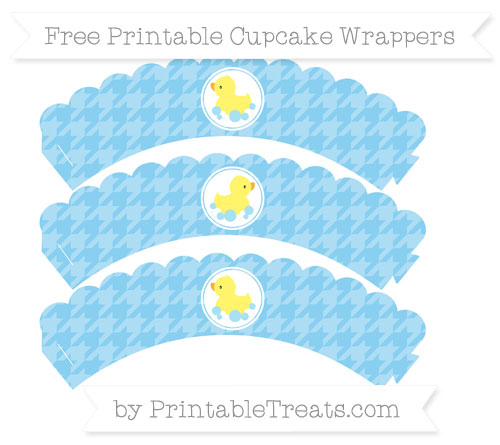Free Baby Blue Houndstooth Pattern Baby Duck Scalloped Cupcake Wrappers
