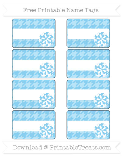 Free Baby Blue Houndstooth Pattern Cheer Pom Pom Tags