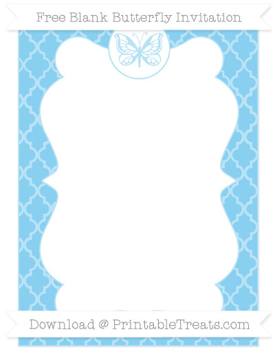 Free Baby Blue Moroccan Tile Blank Butterfly Invitation